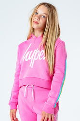 HYPE PINK RAINBOW TAPED KIDS CROP PULLOVER HOODIE