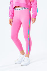 HYPE PINK RAINBOW TAPED KIDS LEGGINGS