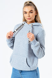 HYPE GREY DRAWCORD WOMEN'S PULLOVER HOODIE
