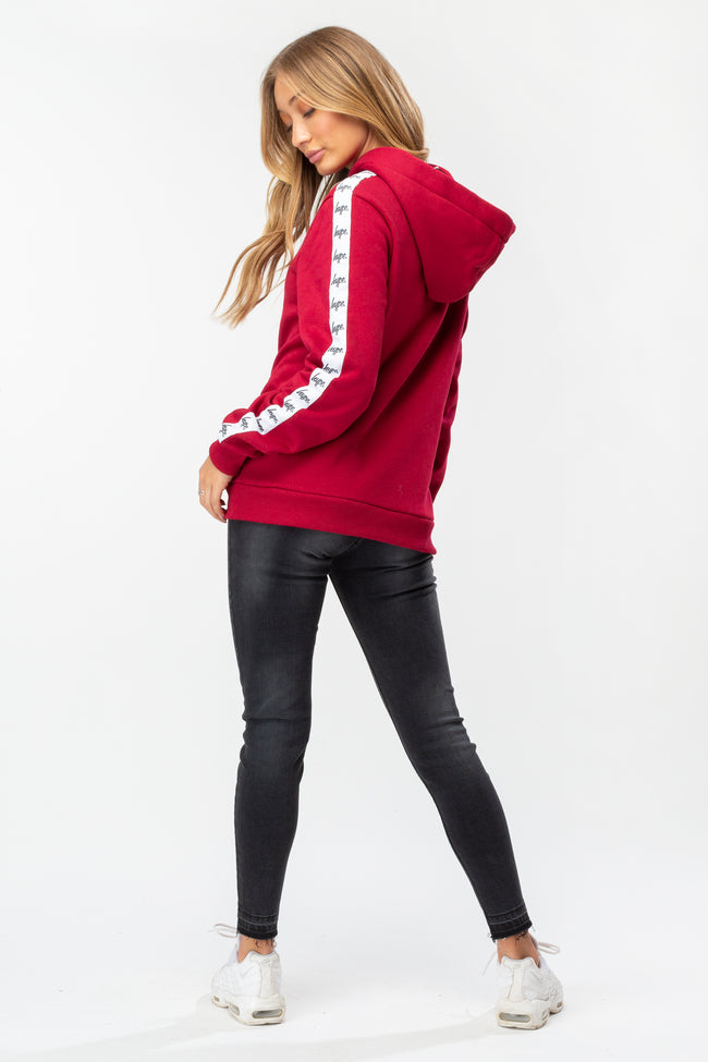 HYPE BURGUNDY TAPED DRAWSTRING WOMEN'S PULLOVER HOODIE