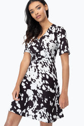 HYPE ABSTRACT COW PRINT WOMEN'S TEA DRESS