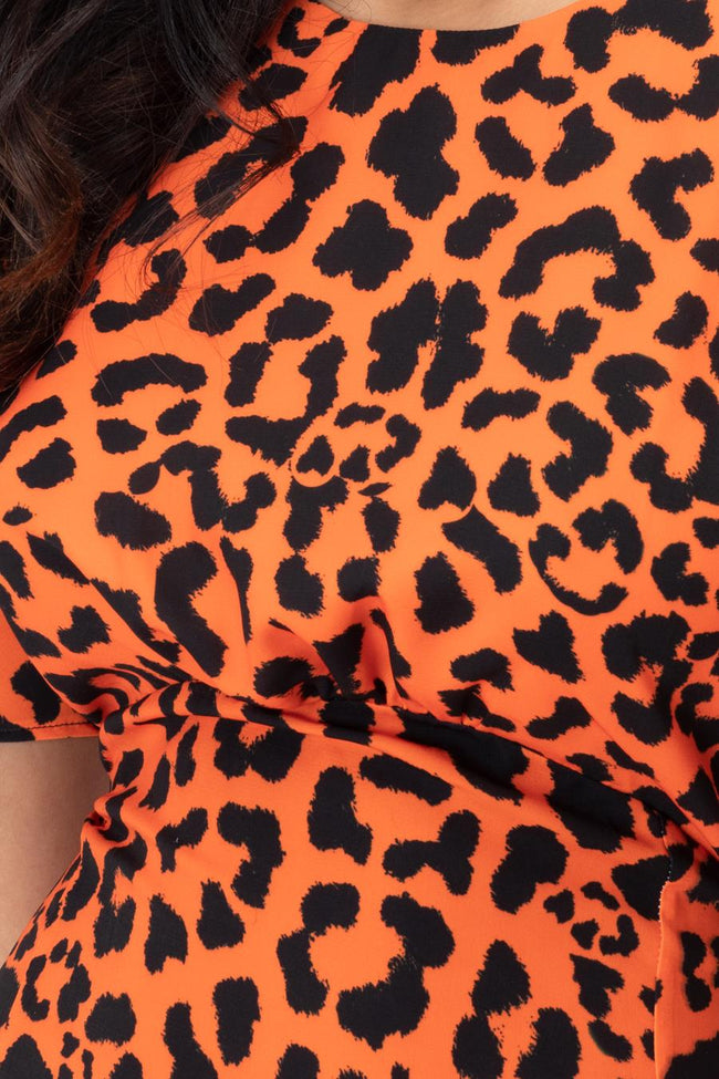 HYPE ORANGE LEOPARD WOMEN'S MAXI DRESS