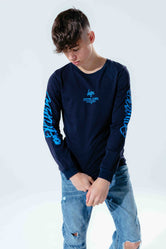 HYPE NAVY GRAFFITI SCRIPT KIDS L/S T-SHIRT