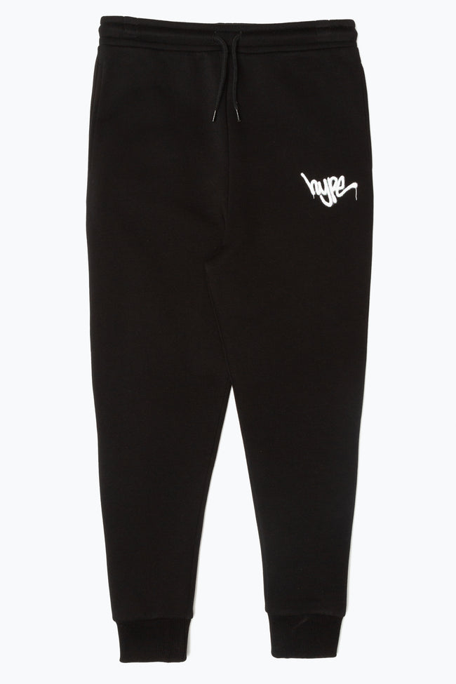 HYPE BLACK GRAFFITI SCRIPT KIDS JOGGERS