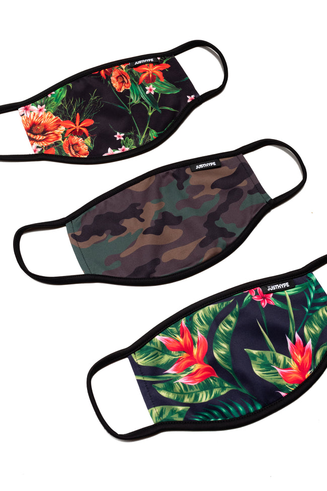 Hype 3X Adult Floral Camo Face Mask Set