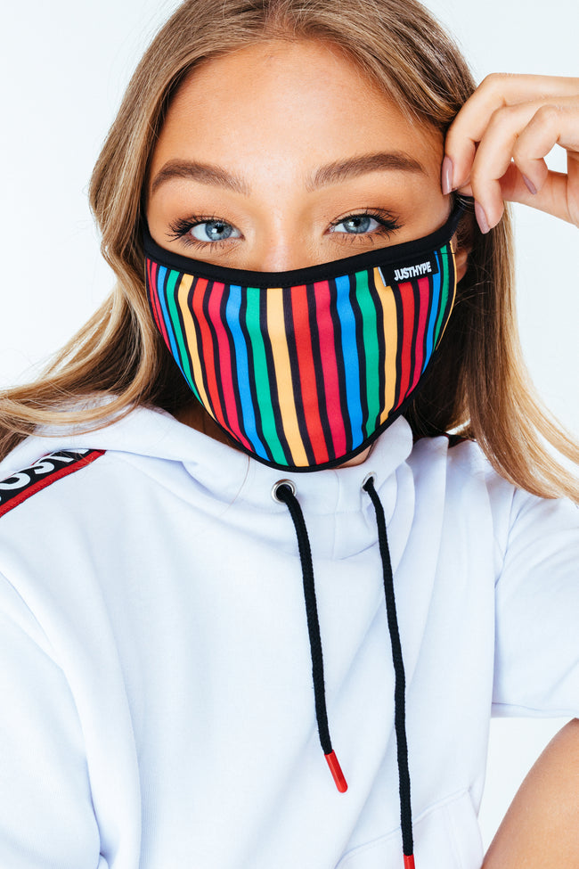 HYPE ADULT CRAYON STRIPES FACE MASK
