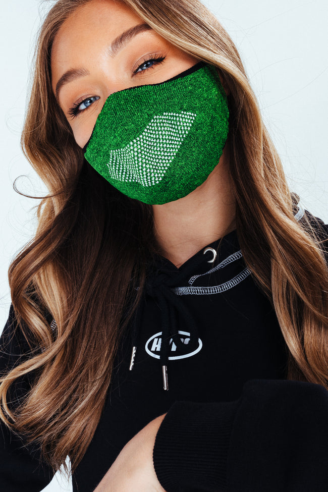 HYPE ADULT GREEN KNIT FACE MASK