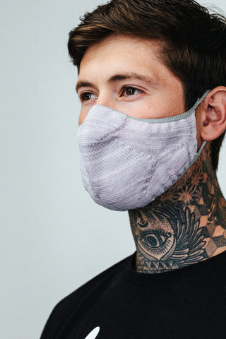HYPE ADULT GREY & LILAC MELANGE KNIT FACE MASK
