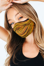 HYPE ADULT YELLOW & BROWN MELANGE KNIT FACE MASK