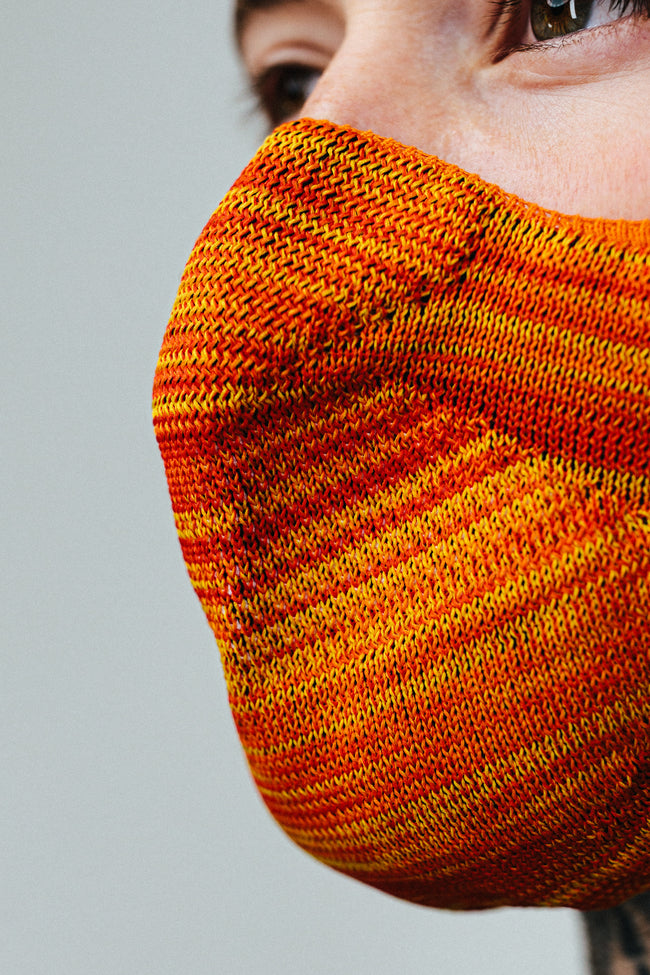 HYPE ADULT ORANGE & YELLOW MELANGE KNIT FACE MASK