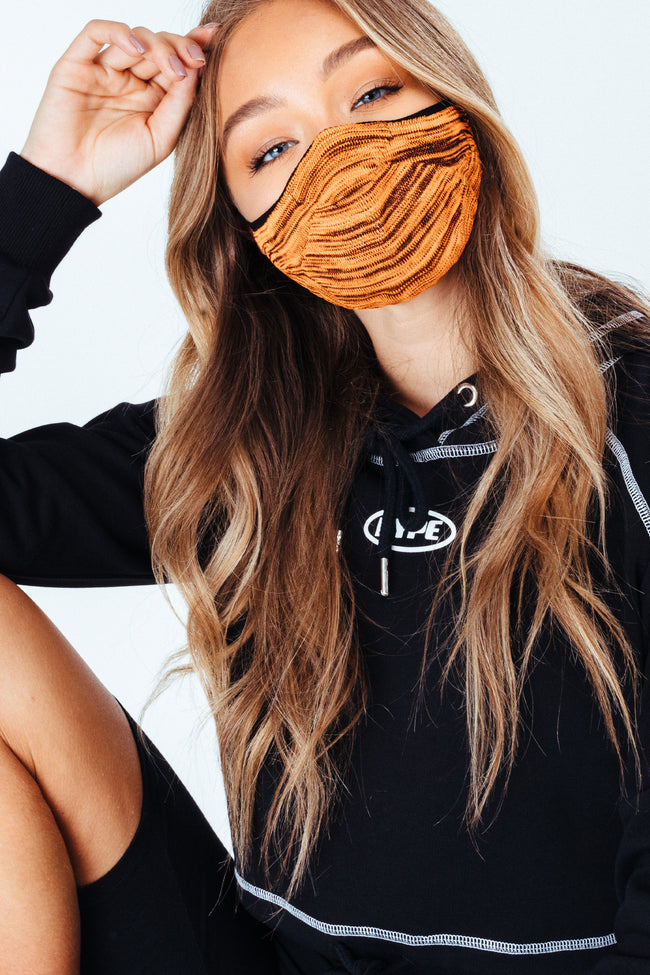 HYPE ADULT ORANGE & BLACK MELANGE KNIT FACE MASK