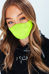 HYPE ADULT LIME MELANGE KNIT FACE MASK