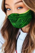 HYPE ADULT LIME & DARK GREEN MELANGE KNIT FACE MASK