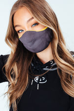 HYPE ADULT GREY & YELLOW MELANGE KNIT FACE MASK