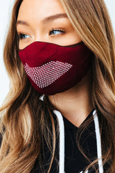 HYPE ADULT BURGUNDY KNIT FACE MASK