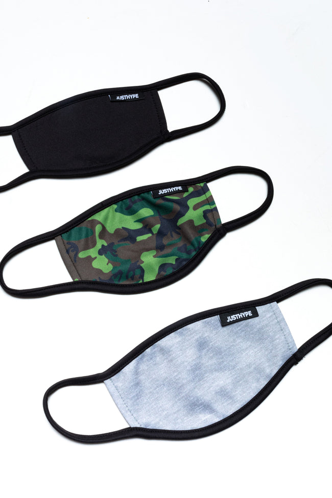 HYPE 3X ADULT ESSENTIAL CAMO FACE MASK SET