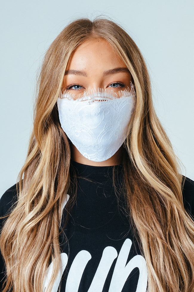 HYPE ADULT WHITE LACE FACE MASK
