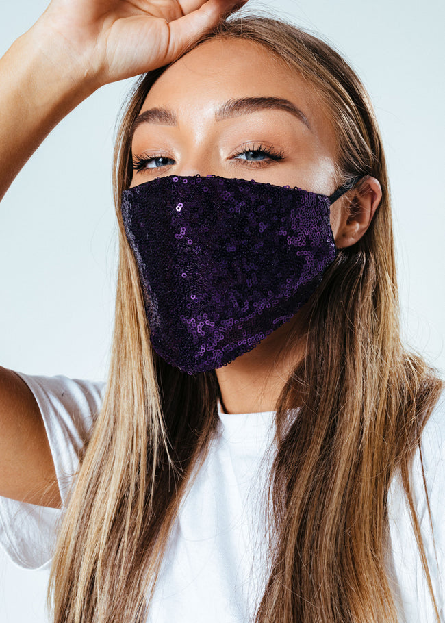 HYPE ADULT PURPLE SEQUIN FACE MASK