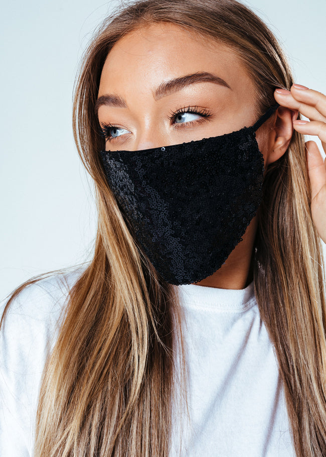 HYPE ADULT BLACK SEQUIN FACE MASK