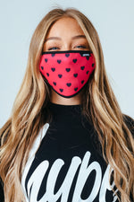 HYPE ADULT PINK HEARTS FACE MASK