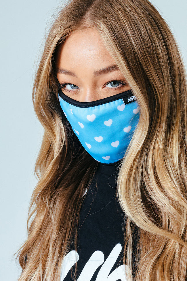 HYPE ADULT BABY BLUE HEARTS FACE MASK