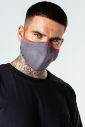 HYPE ADULT GREY WITH RED BORDER KNIT FACE MASK