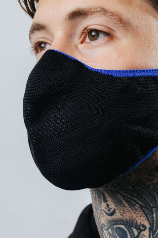 HYPE ADULT BLACK WITH BLUE BORDER KNIT FACE MASK