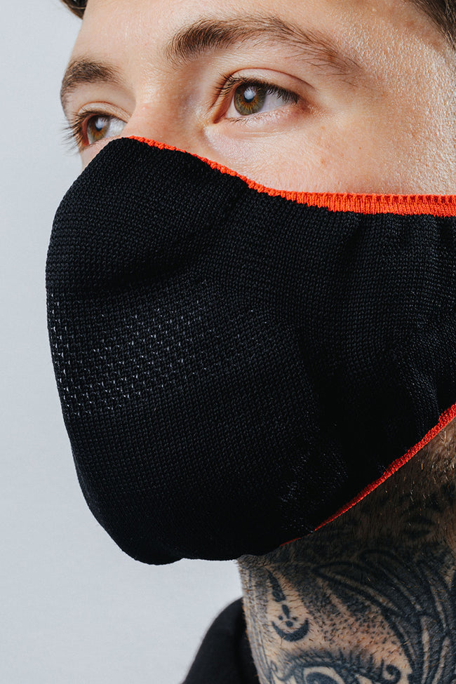 HYPE ADULT BLACK WITH RED BORDER KNIT FACE MASK