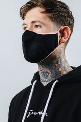 HYPE ADULT BLACK WITH PEACH BORDER KNIT FACE MASK