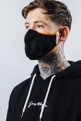 HYPE ADULT BLACK WITH ORANGE BORDER KNIT FACE MASK