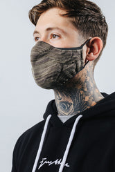 HYPE ADULT KHAKI MELANGE KNIT FACE MASK