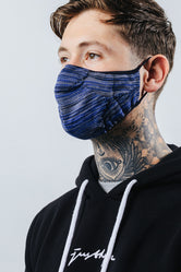 HYPE ADULT BLUE & GREY MELANGE KNIT FACE MASK