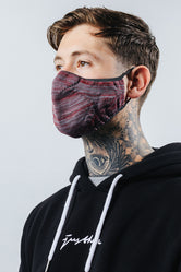 HYPE ADULT GREY & BURGUNDY MELANGE KNIT FACE MASK