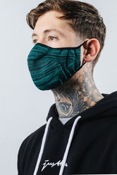 HYPE ADULT FOREST & BLACK MELANGE KNIT FACE MASK
