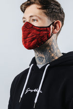 HYPE ADULT RED & BLACK MELANGE KNIT FACE MASK