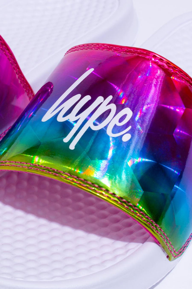 HYPE WHITE RAINBOW HOLOGRAPHIC SLIDERS