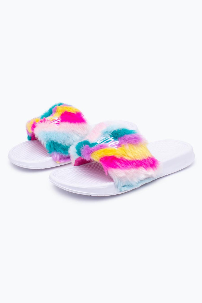 HYPE MULTI RAINBOW FLUFFY SLIDERS