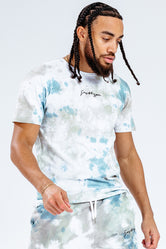 HYPE KHAKI TIE DYE SCRIBBLE LOGO MEN'S T-SHIRT