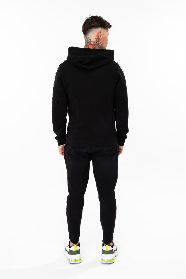 HYPE BLACK SCRIPT TAPED MEN'S PULLOVER HOODIE