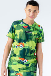 HYPE X SESAME STREET OSCAR THE GROUCH GREEN CAMO KIDS T-SHIRT