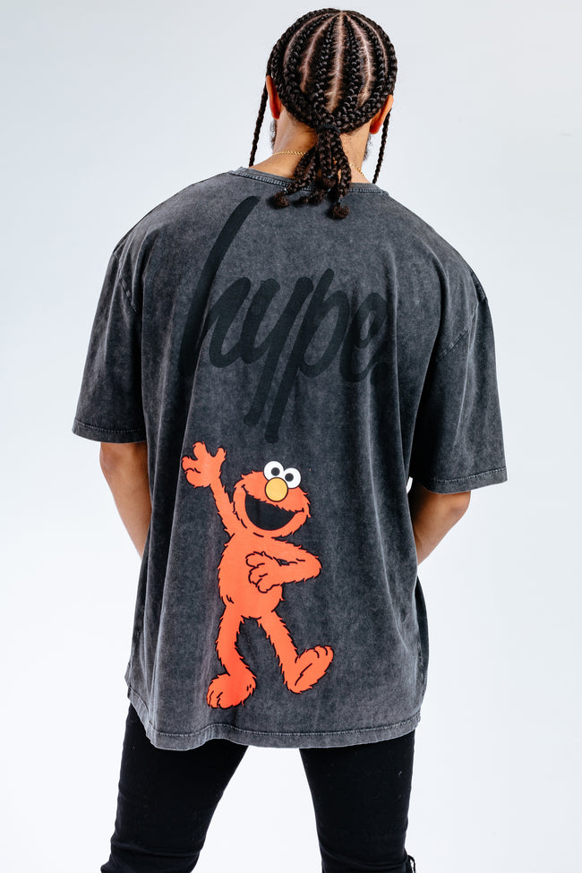 HYPE X SESAME STREET ELMO BLACK ACID WASH ADULT T-SHIRT