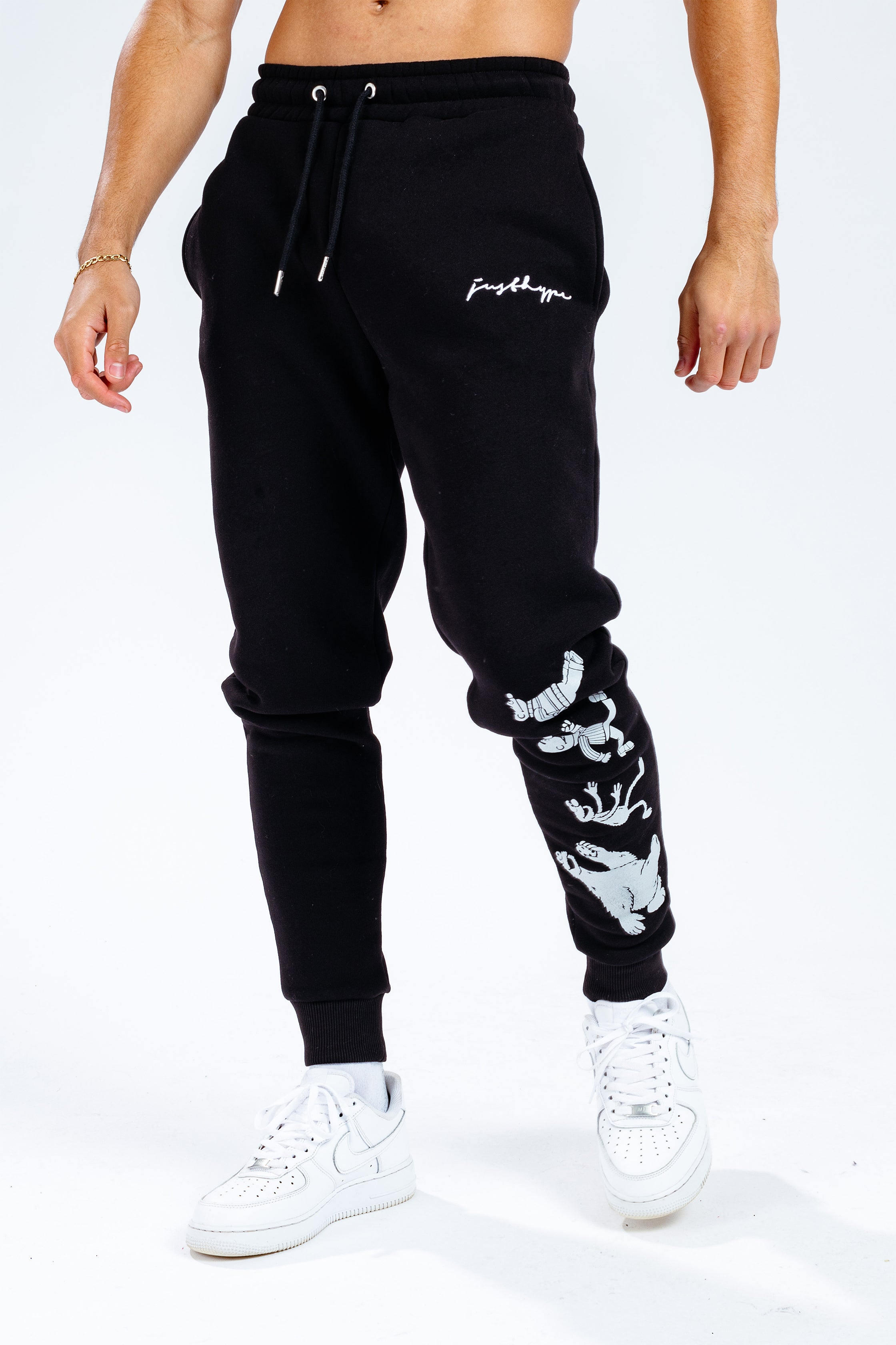 Hype X Sesame Street Black Scribble Logo Taped Character Adult Joggers | Size 2X-Large