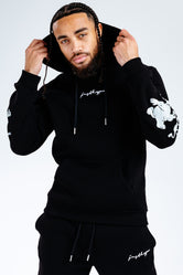 BLACK SCRIBBLE CHARACTER SLEEVE DETAIL ADULT PULLOVER