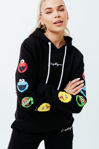 HYPE X SESAME STREET BLACK SCRIBBLE CHARACTER TAPED SLEEVE DETAIL ADULT PULLOVER HOODIE