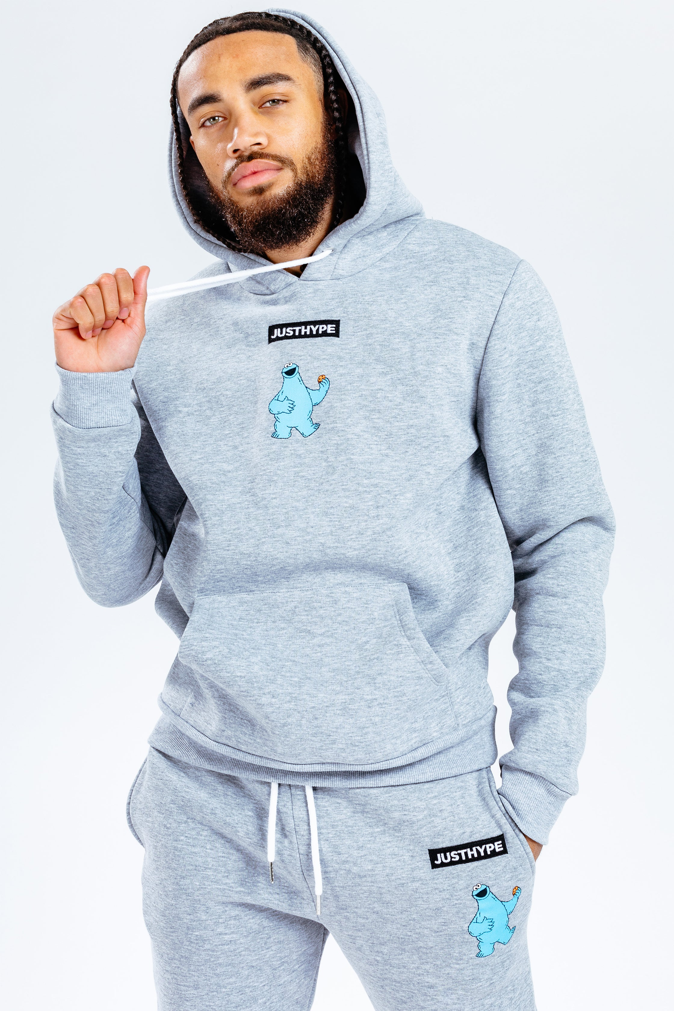 Hype X Sesame Street Grey Cookie Monster Logo Adult Grey/multi Pullover Hoodie | Size Large