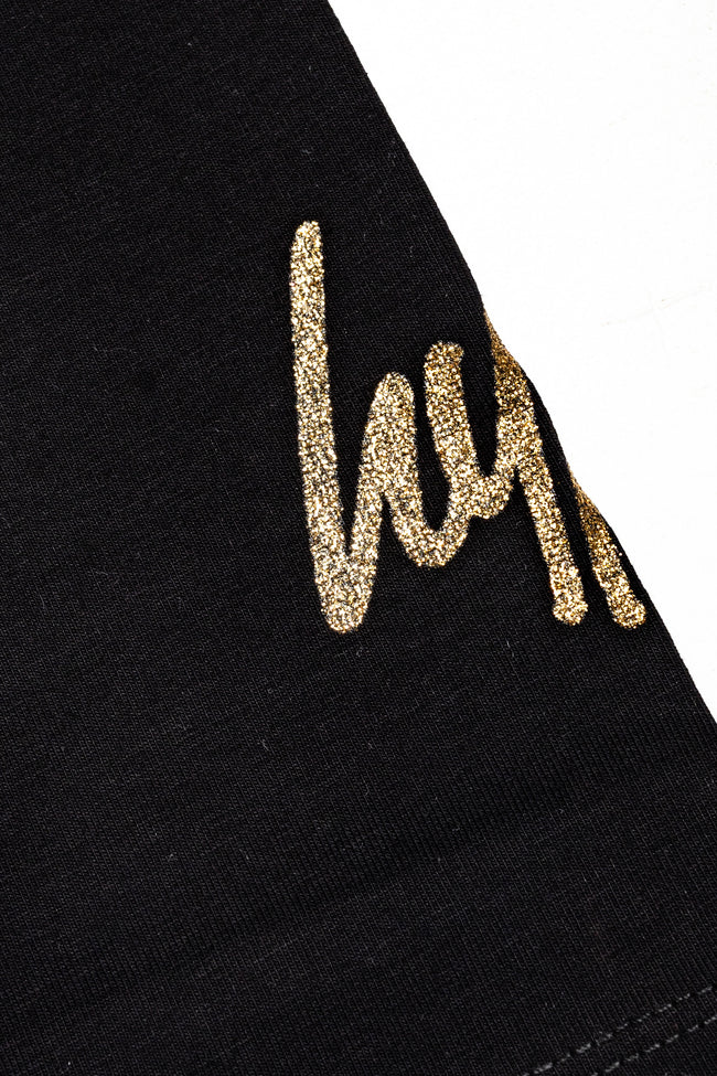 HYPE BLACK GOLD GLITTER SCRIPT WOMEN'S LEGGINGS