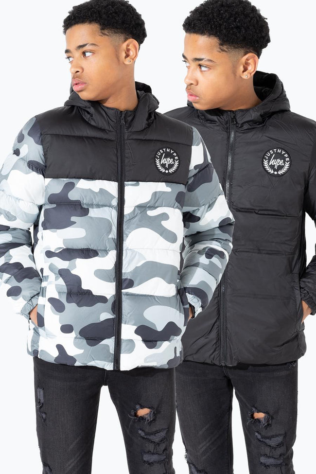 HYPE CAMO REVERSIBLE KIDS PUFFER JACKET