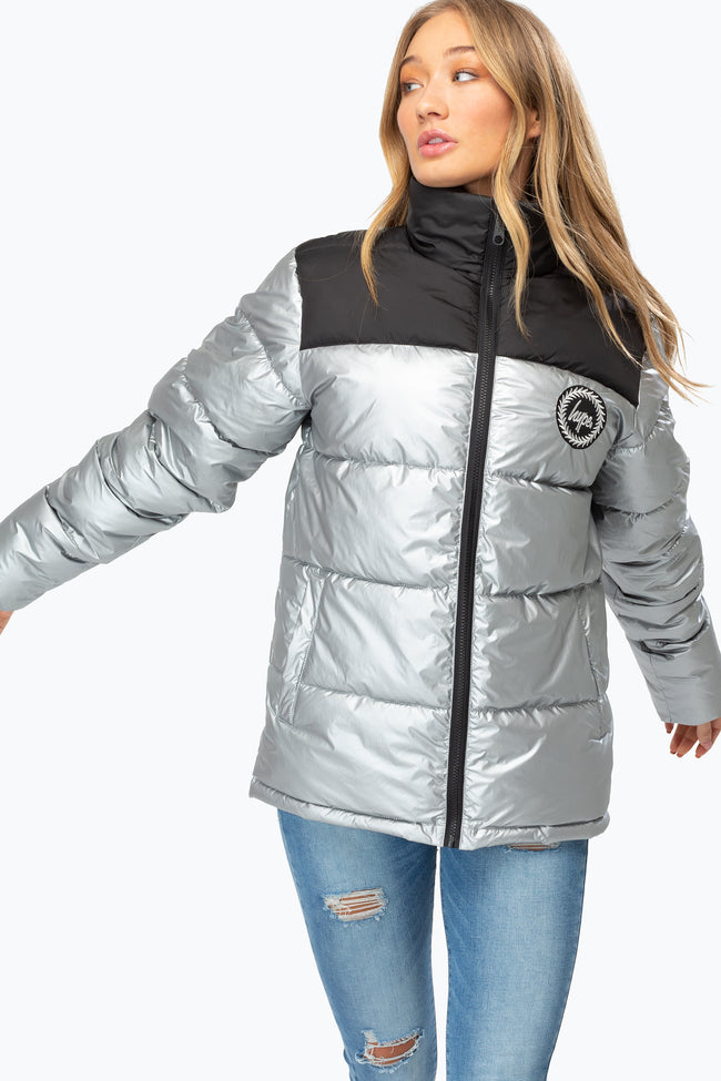 HYPE SILVER COLOURBLOCK WOMEN'S PUFFER JACKET