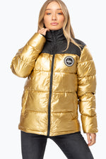 HYPE GOLD COLOURBLOCK WOMEN'S PUFFER JACKET