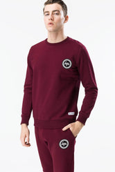 HYPE BURGUNDY CREST MENS CREW NECK